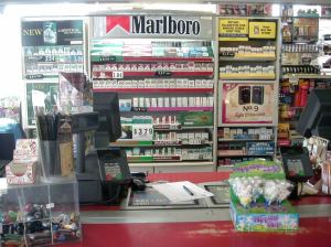 Wall of Tobacco Products at Gas Station