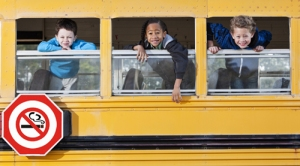 Multi-ethnic elementary school students (5 and 6 years) in school bus, looking out windows.